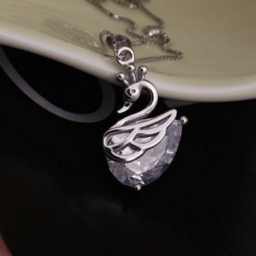 zilveren ketting hanger zwaan met zirkonia