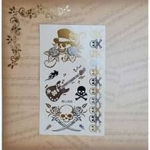 Goudkleurige gitaren en zwarte rozen flash tattoo sheet
