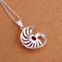 Rode Steen Zee Shell Zilver Plated Ketting