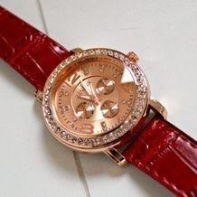 Leren horloge rose goud met zirkonia