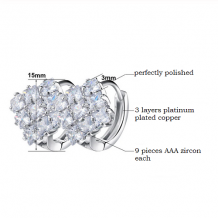oorringen bling bling diamanten met zirkonia platinum plated